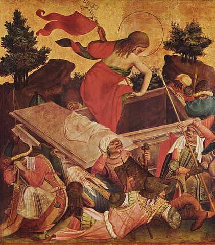 Meister Franke: Auferstehung Christi (Teil des rechten inneren Flügels des Thomasaltars; um 1424; Tempera auf Eichenholz; 99 × 89 cm; Hamburg, Kunsthalle