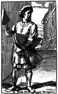 Parmesanverkäufer. Stich des Barockkünstlers Annibale Carracci (1646)