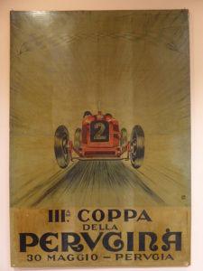 Das Plakat für das 1926 stattgefundene Autorennen der Perugina zeigt deutlich den Einfluss der futuristischen Kunst.