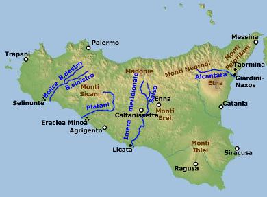 Die Geographie Sizliens