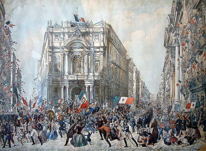 Franz Wenzel Schwarz: Einzug Garibaldis in Neapel